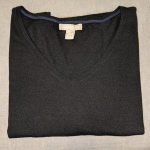 Silk blend 3/4 sleeves lightweight v-neck sweater